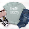 Hustle Hard Pray Harder T-shirt Women's Graphic Tee, Tumbler, thewhiteinvite, The White Invite - The White Invite