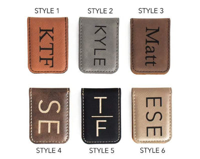 6 Style Options of Personalized Money Clip front