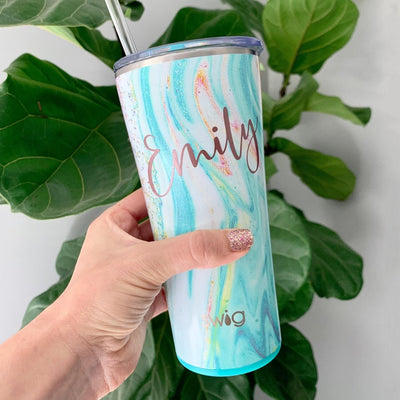 Wanderlust Skinny Tumbler with Lid and Straw