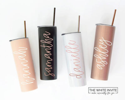 Personalized Skinny Tumbler in Matte Peach Blush or Shimmer White