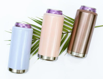 slim can coolers available in various colors