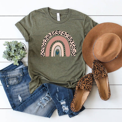 Leopard Rainbow Shirt in olive