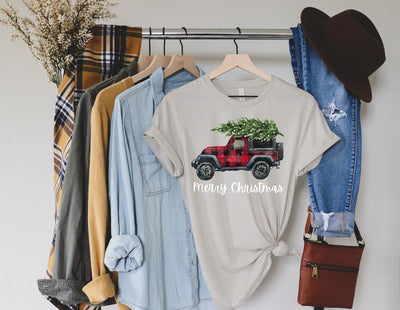 merry christmas vehicle shirt design in heather dust shirt