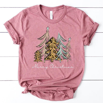Merry Christmas Trees Graphic Tee in mauve  shirt