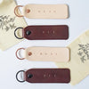 His & Hers Leather Handstamped Keychains by Twin Sparrow