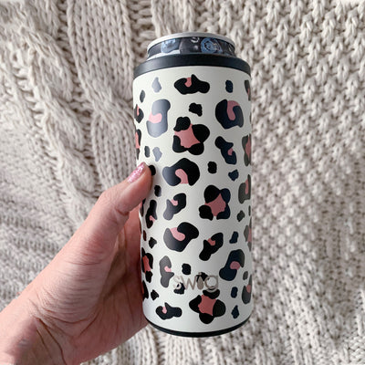 personalized leopard print SWIG skinny can cooler