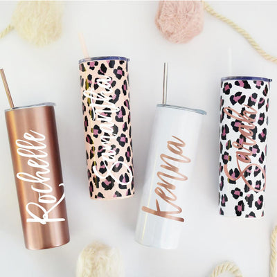 Personalized Leopard Skinny Tumbler with Lid and Straw