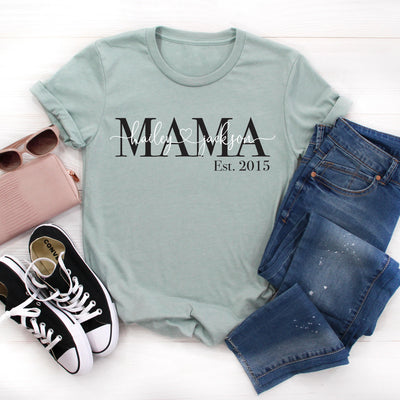 Personalized Mom Shirt Women's Graphic Tee in seafoam