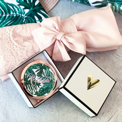 Personalized Palm Leaf Compact Mirrors perfect for bachelorette gift