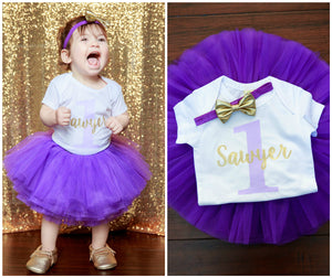 LIVE SALE 1st Birthday Girl Outfit, Personalized Girl First Birthday Outfit, Personalized Birthday Shirt, Purple Birthday Tutu, Cake Smash Outfit, Tutu, thewhiteinvite, The White Invite - The White Invite
