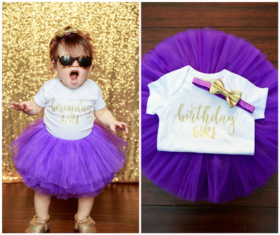 LIVE SALE Birthday Girl Outfit, Purple Gold Girl First Birthday Outfit, Birthday Shirt, Purple Birthday Tutu, Cake Smash Outfit White Onesie Gold Birthday Girl, Tutu, thewhiteinvite, The White Invite - The White Invite