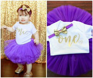 LIVE SALE Girl 1st Birthday Outfit, Purple Gold Tutu Girl First Birthday Outfit, Birthday Shirt, Purple Birthday Tutu, Cake Smash Outfit Dress White One Onesie, Tutu, thewhiteinvite, The White Invite - The White Invite