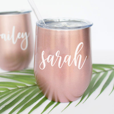 rose gold SWIG stemless wine glass personalized with pretty script letters