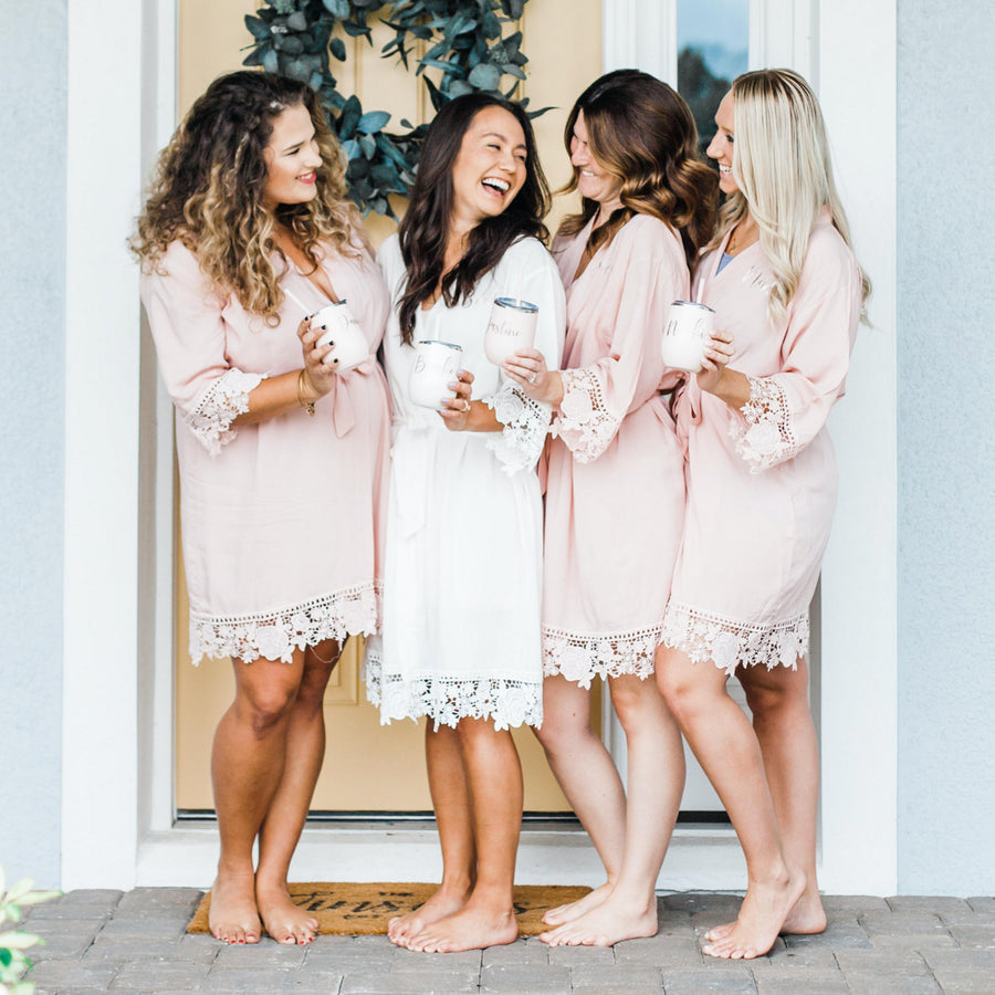 Lace Robes Bachelorette Gift Maid of Honor Robe Getting Ready Robes Bridesmaid Robes Bridal Party Robe Bridesmaid Gifts