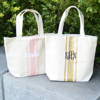 Metallic Personalized Embroidered Tote - Gold, Tote Bag, The White Invite, The White Invite - The White Invite