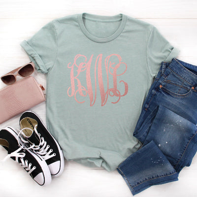 Rose Gold Monogrammed Graphic Tee