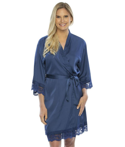 Lady wearing Satin Lace Bridesmaid and Bridal Robes in navy color