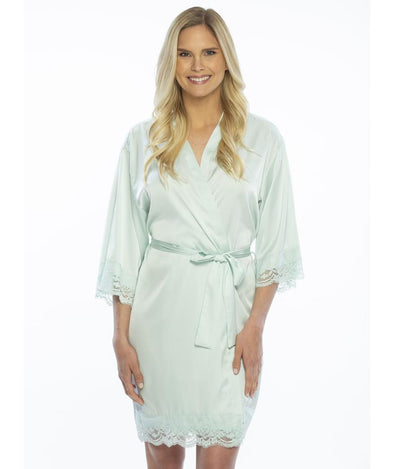 Lady wearing Satin Lace Bridesmaid and Bridal Robes in mint color