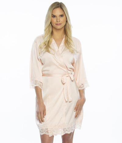 Lady wearing Satin Lace Bridesmaid and Bridal Robes in blush color