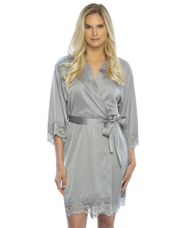 Lady wearing Satin Lace Bridesmaid and Bridal Robes in gray color