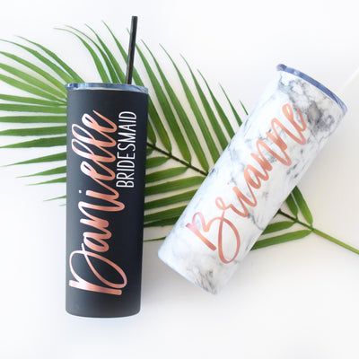 Personalized Skinny Tumbler in Matte Black or White Marble perfect for bachelorette gift