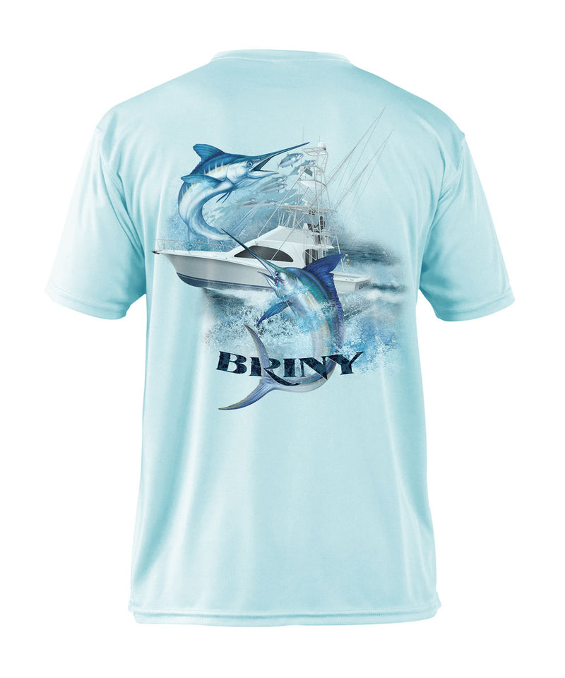 Briny mens fishing shirts short sleeve dually marlin