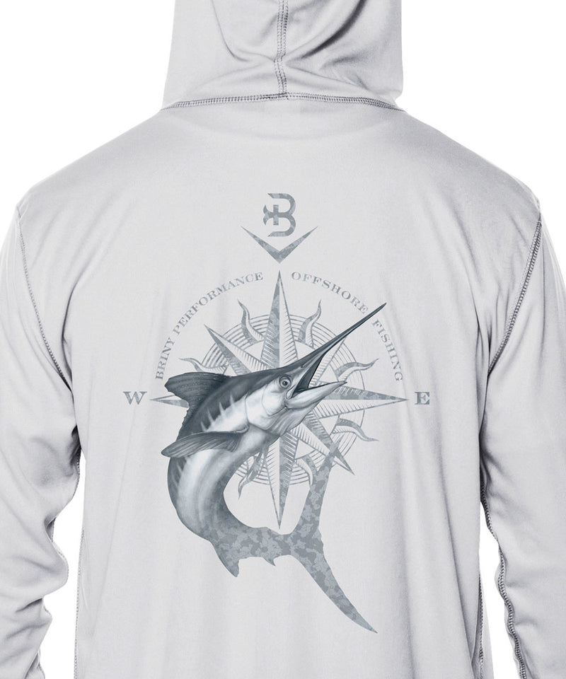 Briny Barricade mens hooded fishing shirt marlin compass