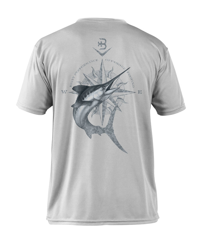 Briny mens fishing shirts short sleeve marlin compass