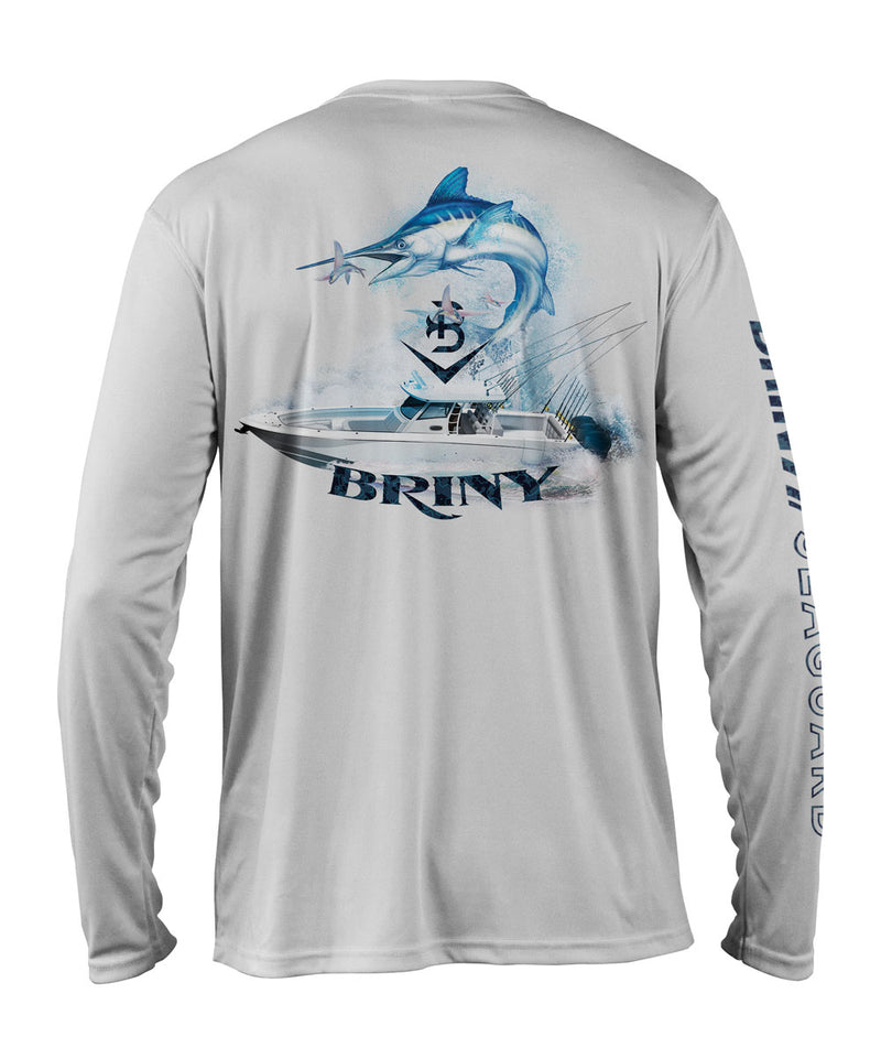 Briny mens fishing shirts long sleeve white marlin
