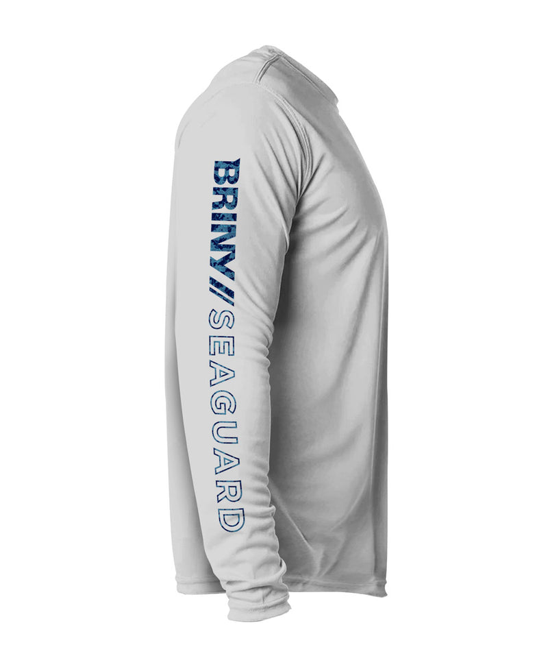 Briny mens long sleeve fishing shirts white marlin