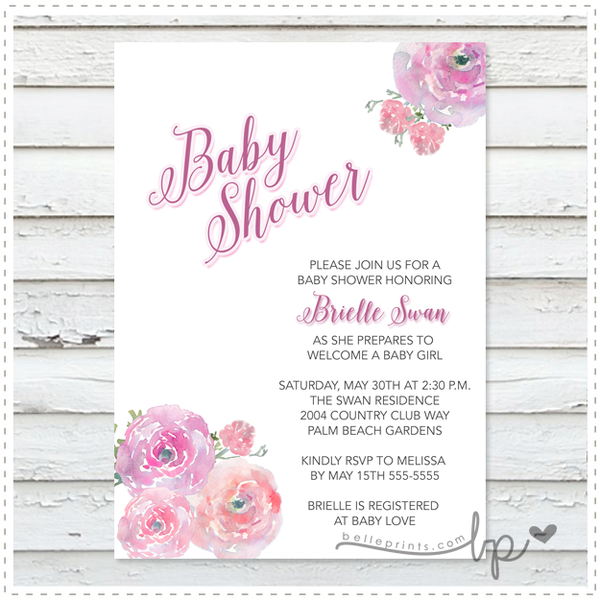 Blush Bouquet Baby Shower Invitation