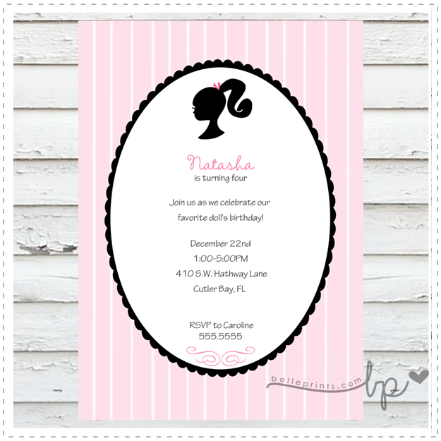 Barbie Silhouette Invitation