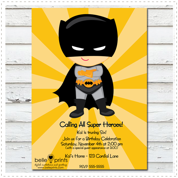 Bat Man Invitation