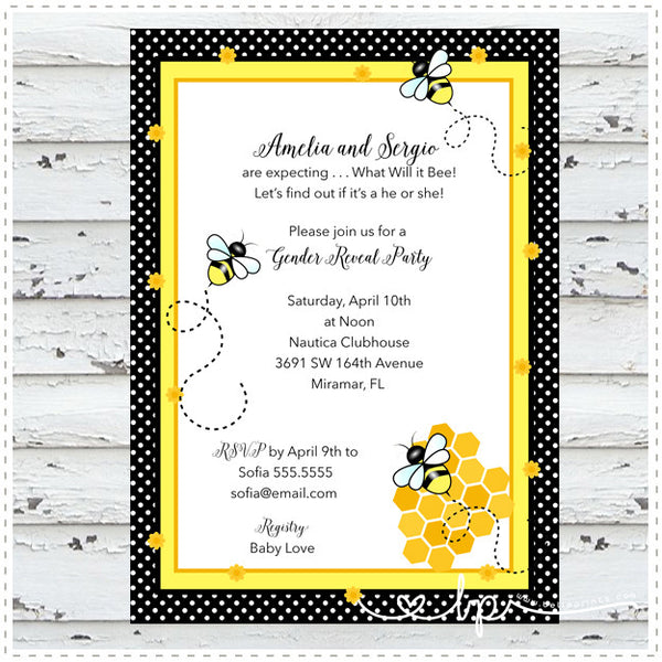 Buzzy Bees Shower Invitation
