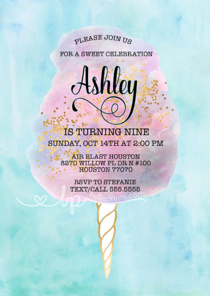 Cotton Candy Birthday Invitation. Cotton Candy invitation personalized with your custom wording.
