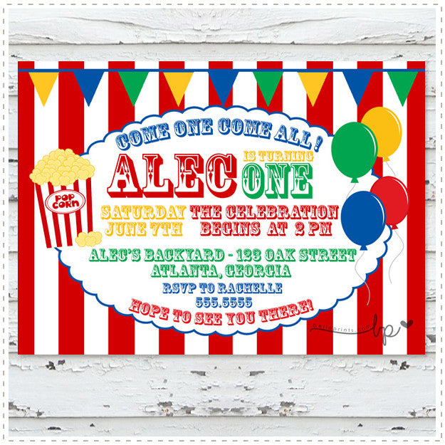 Carnival Balloons and Popcorn Invitation