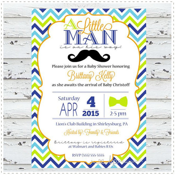 Little Mustache Baby Shower Invitation