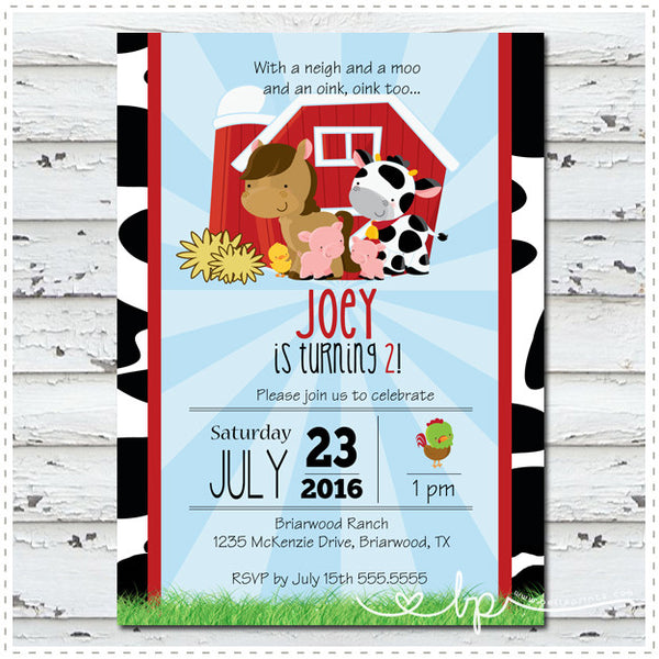 Neigh Moo Oink Invitation