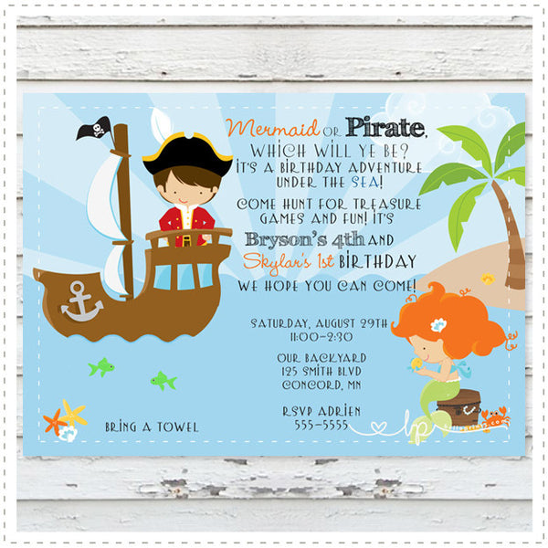 Pirate Mermaid Invitation