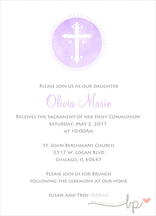 Olivia First Communion Invitation