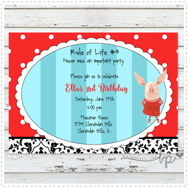 Olivia the Piglet Invitation