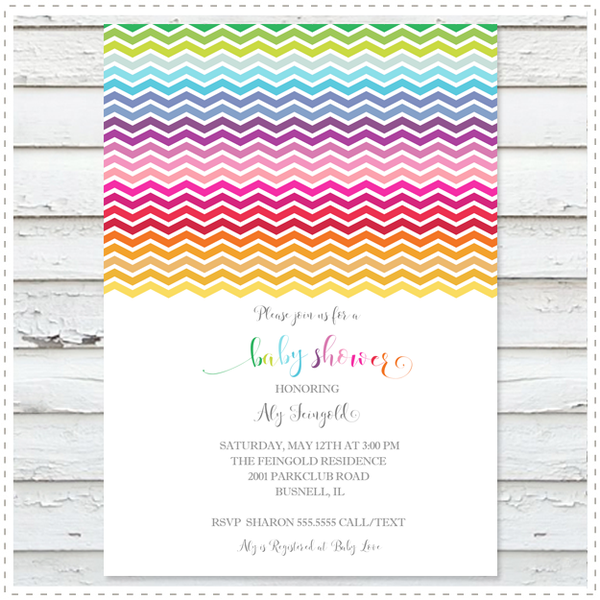 Rainbow Chevrons Baby Shower Invitation
