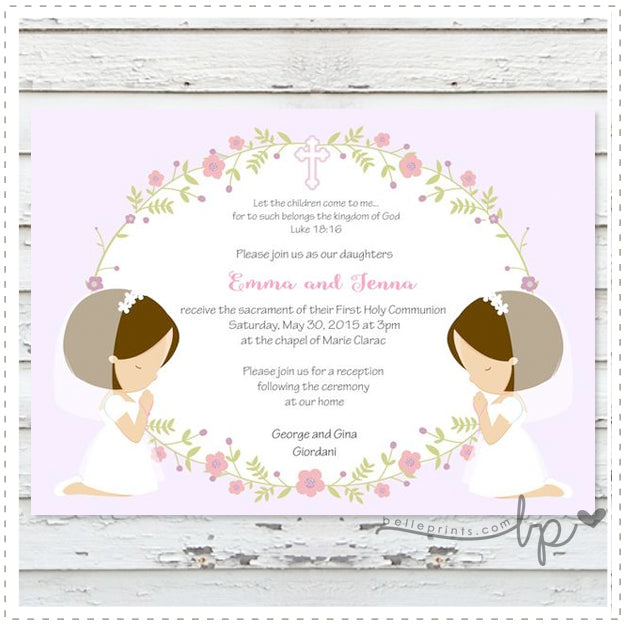 Twin Communion Invitations VR53 Advancedmassagebysara