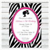 Zebra Barbie Silhouette Invitation