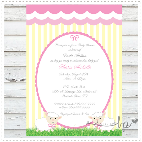Little Lambs Baby Shower Invitation