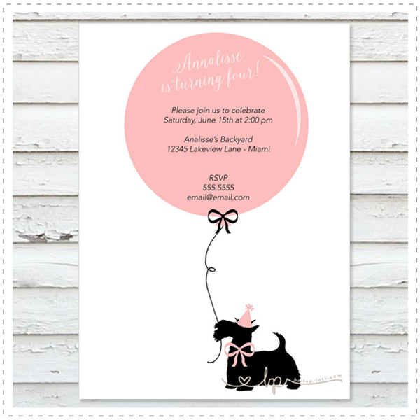 Balloon and Scottie Dog Invitation