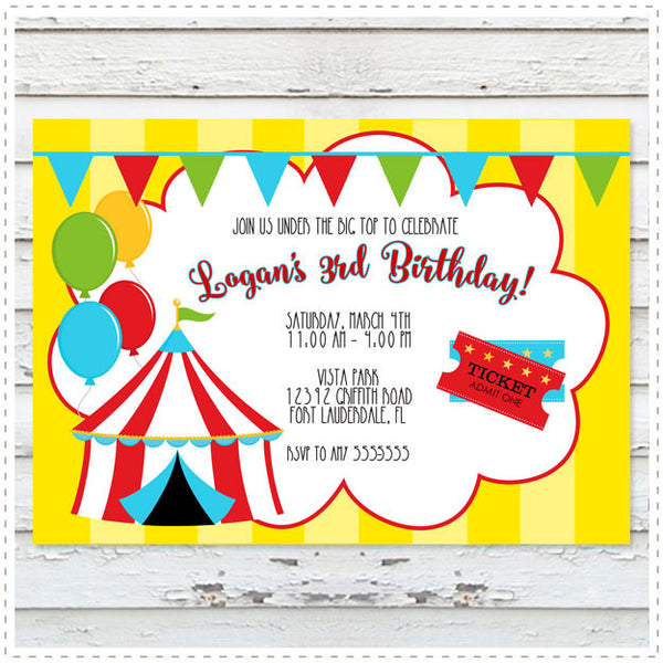 Under the Big Top Invitation