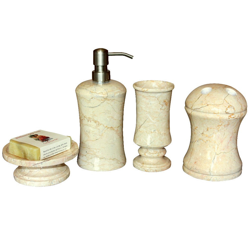 Marble bath accessory 4 piece set marble products for Bathroom 4 piece set