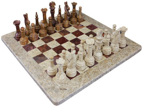 Chess Set- Fossil Stone & Red Onyx - Marble Products International