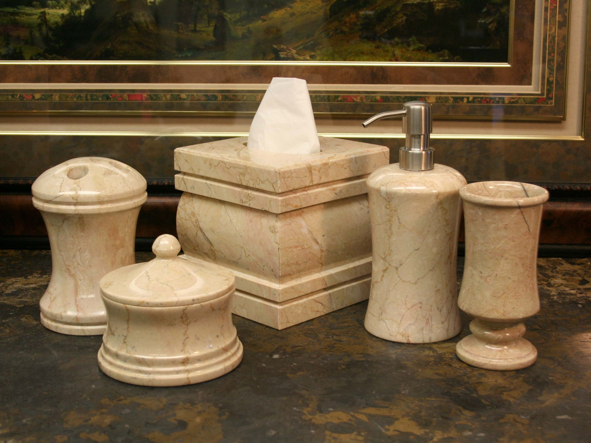 Marble Bath Accessory 8 Piece Set Marble Products International